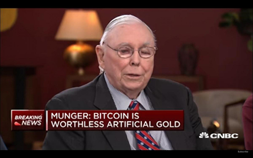 Charlie Munger - Bitcoin worthless artificial gold